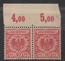 **Germany, SC# 48 MNH, VF, Pair w/ Inscription, Short Perfs, DG on Left Stamp