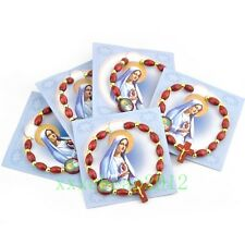 10PCS fashion wood Beads  Virgin Mary JESUS Cross elasticity Bracelet S-218