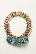 Anthropologie Guirlande Bib Necklace Teal Motif
