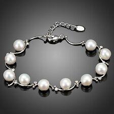 Brand New Cute Pearl Bracelet Clear White Rhinestone Bridal Women Gift Jewellery