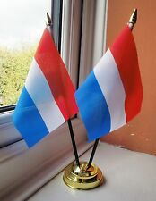 NETHERLANDS X2 TABLE FLAG SET 2 flags plus GOLDEN BASE HOLLAND