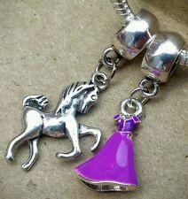 Disney Princess Rapunzel Purple Dress Maximus Horse European Dangle Beads Charms