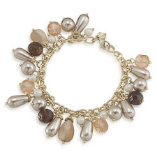 CAROLEE In Bloom Glass Pearl Pink Mother Of Pearl Cherry Bead Charm Bracelet $55