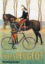 "TARGA VINTAGE ""1890 CYCLES PEUGEOUT"" PUBBLICITA', ADVERTISING, POSTER, PLATE"