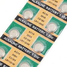 10PCS AG10 LR1130 389A LR54 L1131 189 Alkaline Cell Button Battery FTJV
