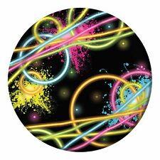 80's Neon Happy Birthday Party - 'Glow Party' - 8 x Party Dinner Plates