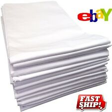 3 NEW WHITE T180 TWIN BED FLAT SHEET 66X104 HOTEL MOTEL RESORT SPA PERCALE