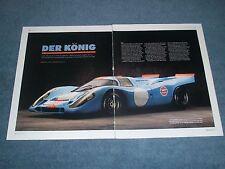 """1969 Porsche 917 Race Car History Info Article """"Der König"""""""