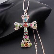 Fashion Golden Cross pendant sweater chain mosaic crystal necklace HHH97