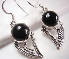 Black Onyx Tribal Style 925 Sterling Silver Dangle Drop Earrings Imported India