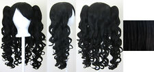 20'' Lolita Wig + 2 Pig Tails Set Black Cosplay Gothic Sweet NEW