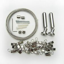 "5M 197"" Curtain Drape Stainless Steel Wire Rod Set Kit +24pc Clip Hang Photo Art"
