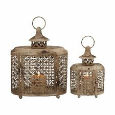 Woodland Imports 52979 The Rustic Metal Candle Lanterns (set of 2)