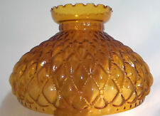 "NEW 10"" Amber Glass Diamond Quilted Student Kerosene Oil Lamp Shade fits Aladdin"