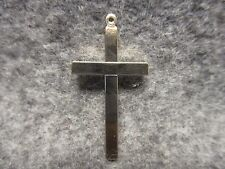 """Religious Christian Smooth Silver Tone Solid Metal Latin Cross Pendant 1-3/4"""""""