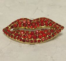 Red Lips Rhinestone Crystals Brooch Pin Love Kiss