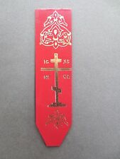 Vintage BOOKMARK LEATHERETTE Christian Cross  Red Silver Bookmarker