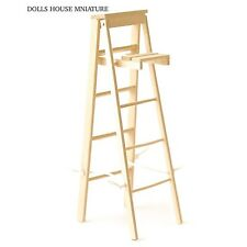 Step Ladder Bare wood Doll House Miniature, Stepladders 1.12 Scale
