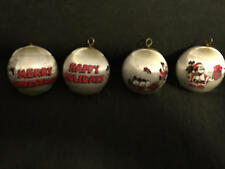 4 Vintage 198Os Mickey Mouse Minnie Donald Christmas Ornaments, Satin Ball Decor