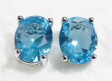 Sterling 925 Silver Filled Stud Earrings 8*6mm Oval Aquamarine Gemstone