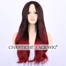 Ombre Black&Red Synthetic Hair Wigs Long Wavy Wig Heat Resistant For Women 22""