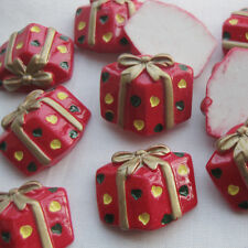 10x Red Christmas Gift/presents  Resin Flatback Buttons Scrapbook Craft 19x22mm