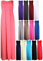WOMENS STRAPLESS RUCHED PLEATED BOOB TUBE LADIES BANDEAU LONG MAXI SUMMER DRESS