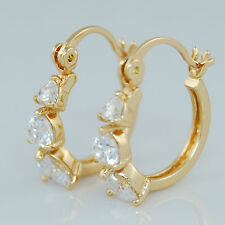 18k Yellow Gold GF Small Hoop Earrings With Sparkling Swarovski Crystal Hearts
