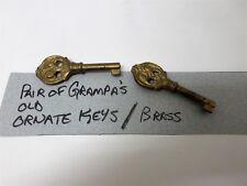 Lot of  2 Antique Brass Keys Jewelry Box Luggage Ornate Clock Unknown Key Lock