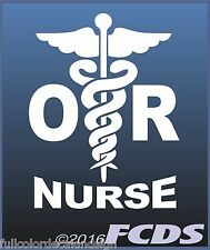 OR Operating Room Nurse Caduceus Decal 2 Colors White or Pink