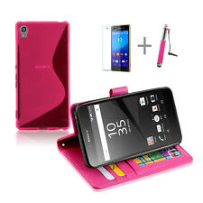 HOT PINK Wallet 4in1 Accessory Bundle Kit S TPU Case Cover For Sony Xperia Z5