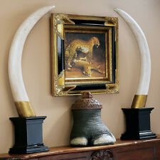 Pair of 2 British Colonial Elephant Tusks Sculptural Trophy Reproduction