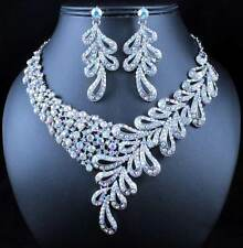ELEGANT FLORAL AB WHITE AUSTRIAN RHINESTONE BRIDAL NECKLACE EARRINGS SET N1786AB