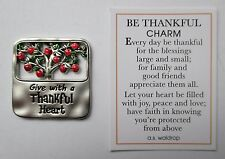 f Give with thankful heart BE THANKFUL pocket charm token Apple gratitude Ganz