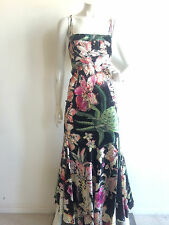 Just Cavalli Silk Floral Print Multi-Colored Gown Size IT38 US 2 Retail $1195