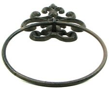 Cast Iron - Fleur De Lis Towel Ring Rustic Brown French Country