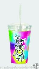 16116 Life's Too Short Insulated Travel Cup w/straw Be Happy Smile Smiley Face