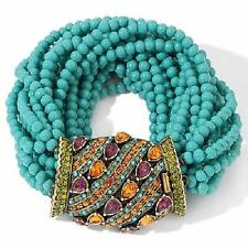 "Heidi Daus A New Twist on a Bracelet Simulated Turquoise Crystal 7-1/2"" Bracelet"