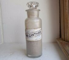 1870s PV.CANTHARIDIN SPANISH FLY APHRODIAC LABEL UNDER GLASS APOTHECARY BOTTLE