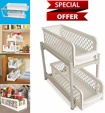 2-Tier Kitchen Under Cabinet Sliding Shelf Basket Bathroom Storage Organizer