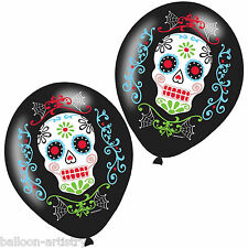 6 Halloween Muertos Day Of The Dead Festival Party 27cm Printed Latex Balloons