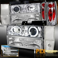 1988-1993 GMC Chevy Silverado Halo Projector LED Head Light W/Signal + Tail Lamp