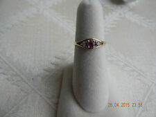 10K yellow gold 3.5 mm round ruby and diamond ladies ring w/ diamond accents s 6