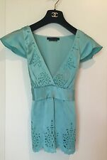 BCBG MAX AZRIA Turquoise V-Neck Silk top With cap sleeves,Flower Cut Outs, SZ XS