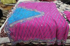 Indian sari Georgette pink/blue  embroidery work with/ Blouse