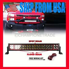 US 24 In 120W Spot Flood Combo LED Work Light Lamp Bar Offroad ATV Jeep Boat CT