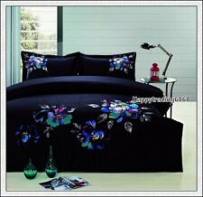 400TC 100% Cotton Black Turquoise Embroidery * 3pc KING QUILT DOONA COVER SET
