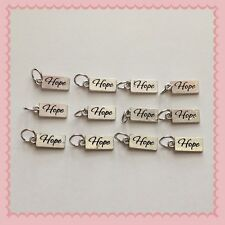 12 Silvertone Hope Cancer Awareness Charms Jewelry Making Earrings Bracelet Q5