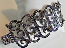 Glorious! one-off unusual HEAVY! 60g sterling silver 925 wide marcasite bracelet