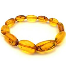 Amber Baltic Bracelet Genuine 13.96 Gr Vintage Cognac Color Stretchy (BZ705)